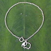 Sterling silver charm bracelet, 'Moonlit Elephant'