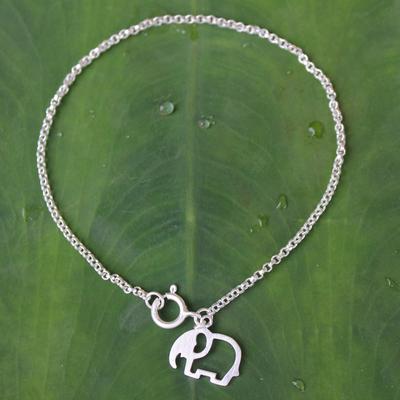 Sterling silver charm bracelet, 'Moonlit Elephant' - Unique Sterling Silver Elephant Charm Bracelet