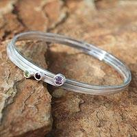 Amethyst and garnet  bangle bracelets, 'Spring Color' (set of 3) - Amethyst and garnet  bangle bracelets (Set of 3)