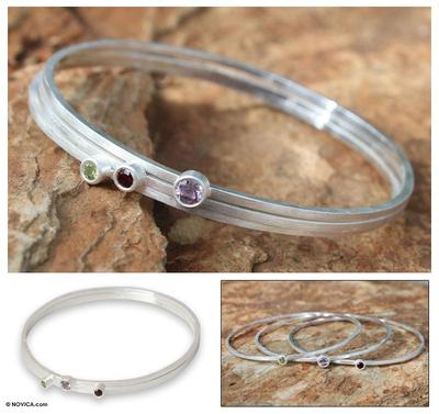 Amethyst and garnet  bangle bracelets, 'Spring Color' (set of 3) - Amethyst and garnet  bangle bracelets (Set of 3)
