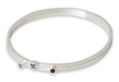 Amethyst and garnet bangle bracelets (Set of 3)