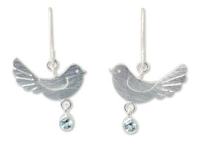 Blue topaz  dangle earrings, 'Doves of Peace' - Sterling Silver and Blue Topaz Dangle Earrings