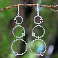 Garnet and amethyst dangle earrings, 'Spring Color' - Modern Sterling Silver Multigem Earrings