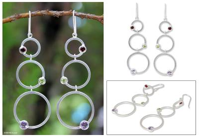 Garnet and amethyst dangle earrings, 'Spring Color' - Modern Sterling Silver Multigem Earrings