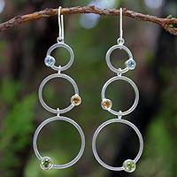 Peridot and citrine dangle earrings, 'Spring Rainbow' - Sterling Silver Multigem Dangle Earrings