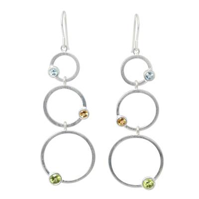 Peridot and citrine dangle earrings, 'Spring Rainbow' - Sterling Silver Multigem Dangle Earrings