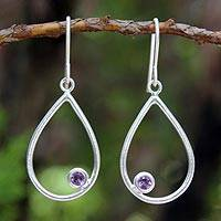 Amethyst dangle earrings, 'Rain' - Handmade Sterling Silver and Amethyst Dangle Earrings