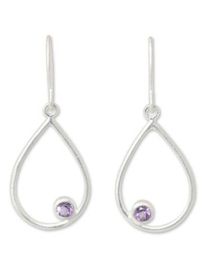 Amethyst dangle earrings, 'Rain' - Handmade Sterling Silver and Amethyst Dangle Earrings