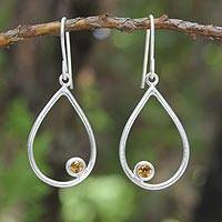Citrine dangle earrings, 'Rain' - Sterling Silver and Citrine Dangle Earrings