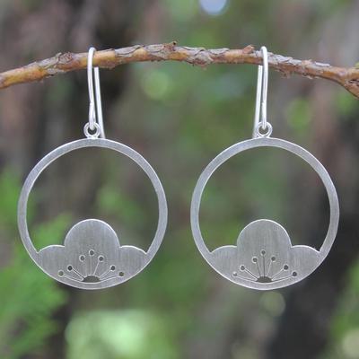 Sterling silver flower earrings, 'Shy Plum Blossoms' - Handmade Sterling Silver Flower Earrings