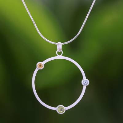 Peridot and citrine pendant necklace, 'Spring Rainbow' - Peridot and Citrine Pendant Necklace