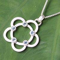 Blue topaz flower necklace, 'Blossoming Glamour' - Blue topaz flower necklace