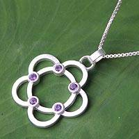 Amethyst flower necklace, 'Blossoming Glamour' - Handcrafted Amethyst and Silver Flower Necklace