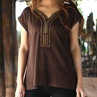 Cotton blouse, 'Coffee Garden' - Handcrafted Cotton Blouse from Thailand