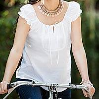 Cotton blouse, 'White Thai Pearl' - Fair Trade Cotton Blouse