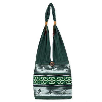 Cotton sling bag, 'Lanna Forest' - Green Embroidered Shoulder Bag from Thailand