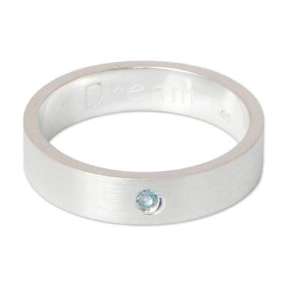 Hand Crafted Blue Topaz and Silver Ring