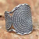 Handcrafted Sterling Silver Band Ring, 'Hill Tribe Moon'