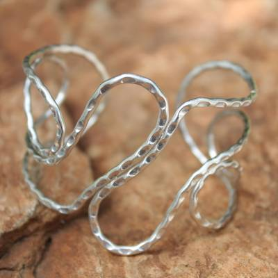Sterling silver cuff bracelet, 'Thapae Path' - Hammered Sterling Silver Cuff Bracelet