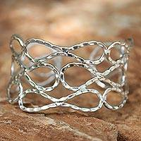 Sterling silver cuff bracelet, 'Siam Forever' - Unique Sterling Silver Cuff Bracelet