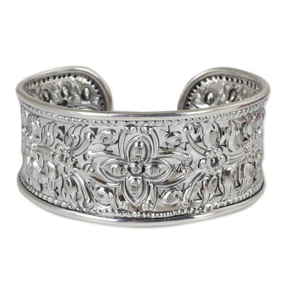 Sterling silver cuff bracelet, 'Princess Garden' - Unique Floral Sterling Silver Cuff Bracelet