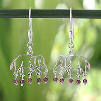 Garnet dangle earrings, 'Elephant Glitz'
