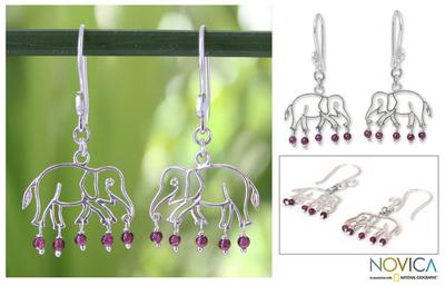 Garnet dangle earrings, 'Elephant Glitz' - Garnet and Silver Dangle Earrings