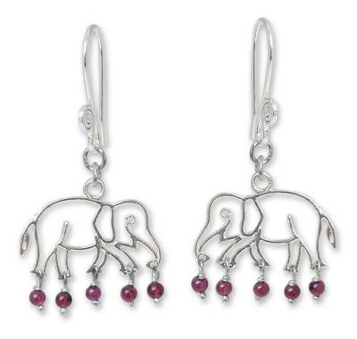 Garnet dangle earrings, 'Elephant Glitz' - Garnet and Silver Dangle Earrings
