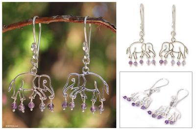 Amethyst dangle earrings, 'Elephant Glitz' - Sterling Silver and Amethyst Dangle Earrings
