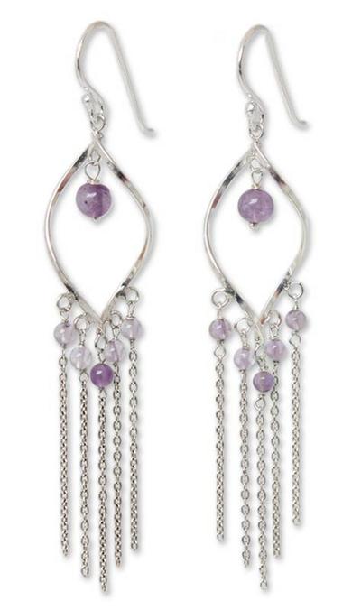 Amethyst waterfall earrings, 'Scintillating Leaves' - Amethyst Sterling Silver Earrings