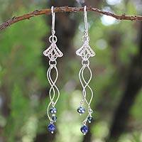 Pearl and lapis lazuli flower earrings, 'Filigree Tulips' - Handcrafted Lapis Lazuli and Filigree Silver Dangle Earrings