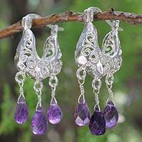 Amethyst filigree earrings, 'Lanna Crown' - Filigree Sterling Silver and Amethyst Earrings