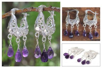 Amethyst filigree earrings, 'Lanna Crown' - Filigree Sterling Silver and Amethyst Earrings