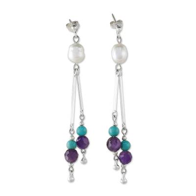 Unique Sterling Silver and Multigem Earrings