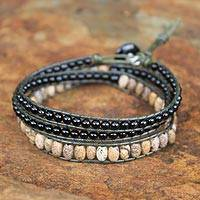 Onyx and jasper wrap bracelet, 'Midnight Orchid' - Onyx and jasper wrap bracelet