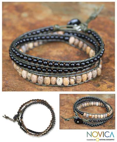 Onyx and jasper wrap bracelet, 'Midnight Orchid' - Onyx and jasper wrap bracelet