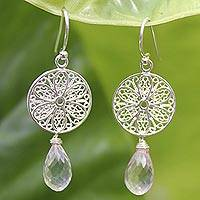 Rose quartz flower earrings, 'Filigree Daisies' - Rose quartz flower earrings