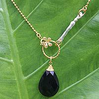 Gold plated onyx flower necklace, 'Tulip Mystique' - Gold Plated Onyx Flower Necklace