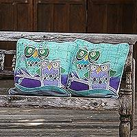 Cotton batik cushion covers, 'Mischievous Owls' (pair)