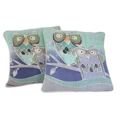 Cotton batik cushion covers, 'Mischievous Owls' (pair) - Artisan Crafted Cotton Cushion Covers (Pair)