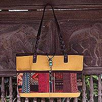 Cotton shoulder bag, 'Hill Tribe Yellow'