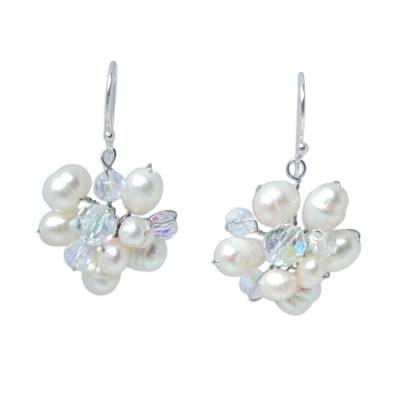 Unique Pearl Dangle Earrings from Thailand