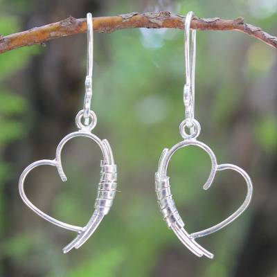 Sterling silver heart earrings, 'Love Promise' - Heart Shaped Sterling Silver Dangle Earrings