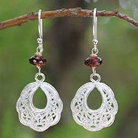 Garnet filigree earrings, 'Scintillating Lanna' - Garnet filigree earrings