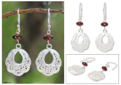 Garnet filigree earrings, Scintillating Lanna