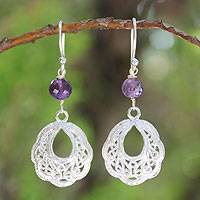 Amethyst filigree earrings, 'Scintillating Lanna' - Amethyst filigree earrings