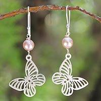 Cultured pearls dangle earrings, 'Butterfly Moons' - Hand Made Pearl and Silver Dangle Earrings