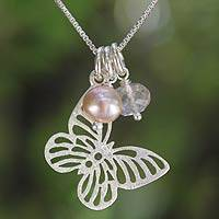 Cultured pearls pendant necklace, 'Butterfly Moons' - Silver and Pearl Pendant Necklace