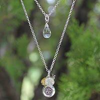 Cultured pearl and labradorite pendant necklace, 'Vedic Om' - Sterling Silver Inspirational Pendant Necklace