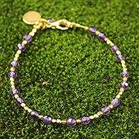 Gold plated amethyst beaded bracelet, 'Divine Deva' - Gold Plated Amethyst Bracelet from Thailand